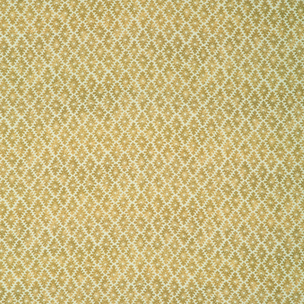 Fabric sample of a dark yellow and neutral printed linen fabric for curtains and upholstery