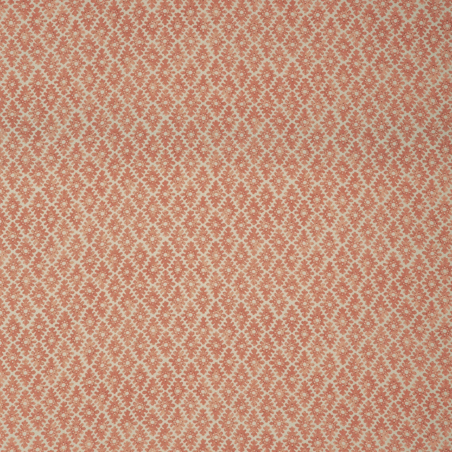 Fabric sample of a orange and neutral printed linen fabric for curtains and upholstery