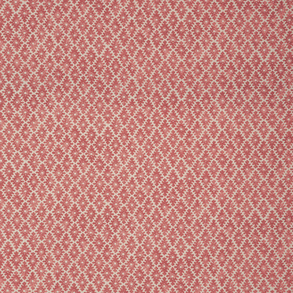 Fabric sample of a redand neutral printed linen fabric for curtains and upholstery