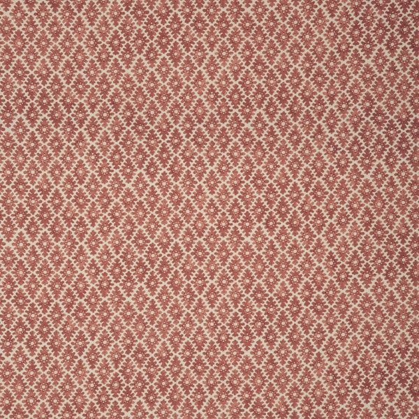 Fabric sample of a brick red and neutral printed linen fabric for curtains and upholstery