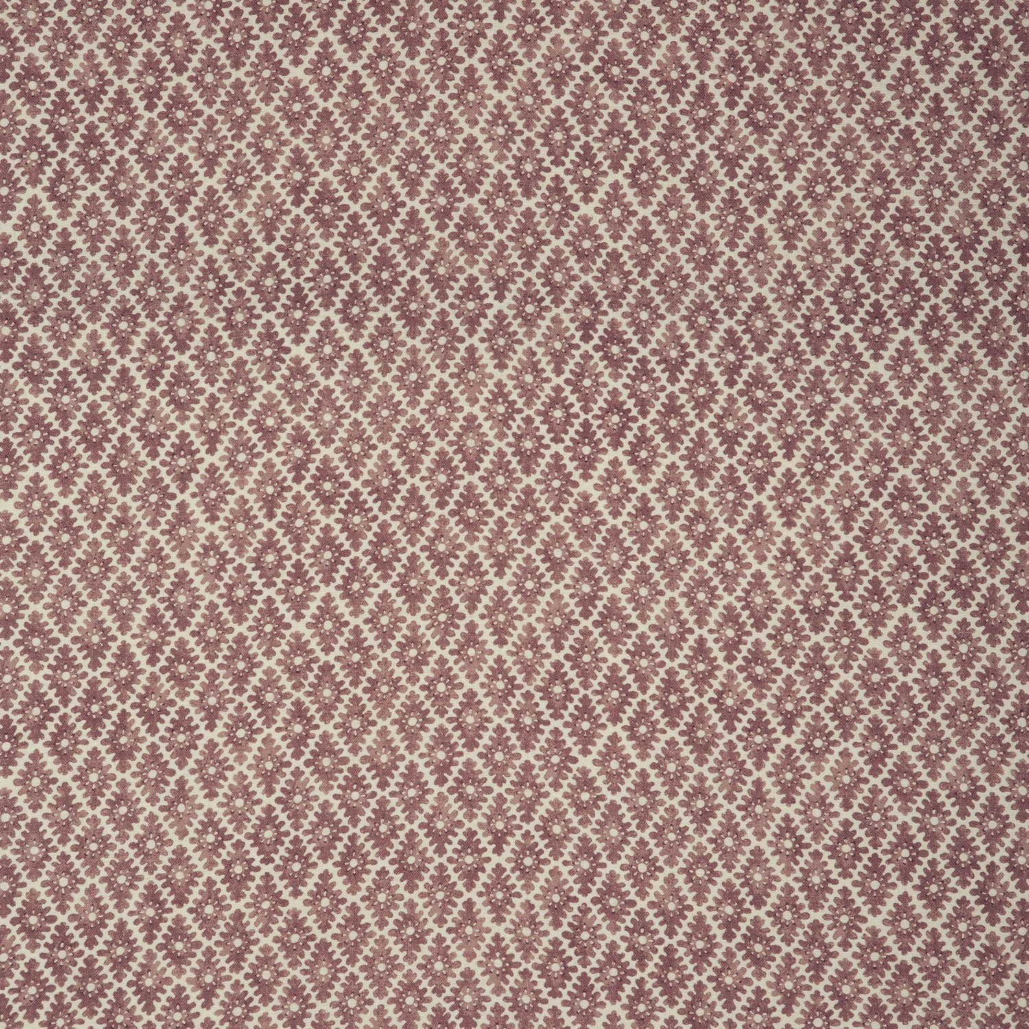 Fabric sample of a berry and neutral printed linen fabric for curtains and upholstery