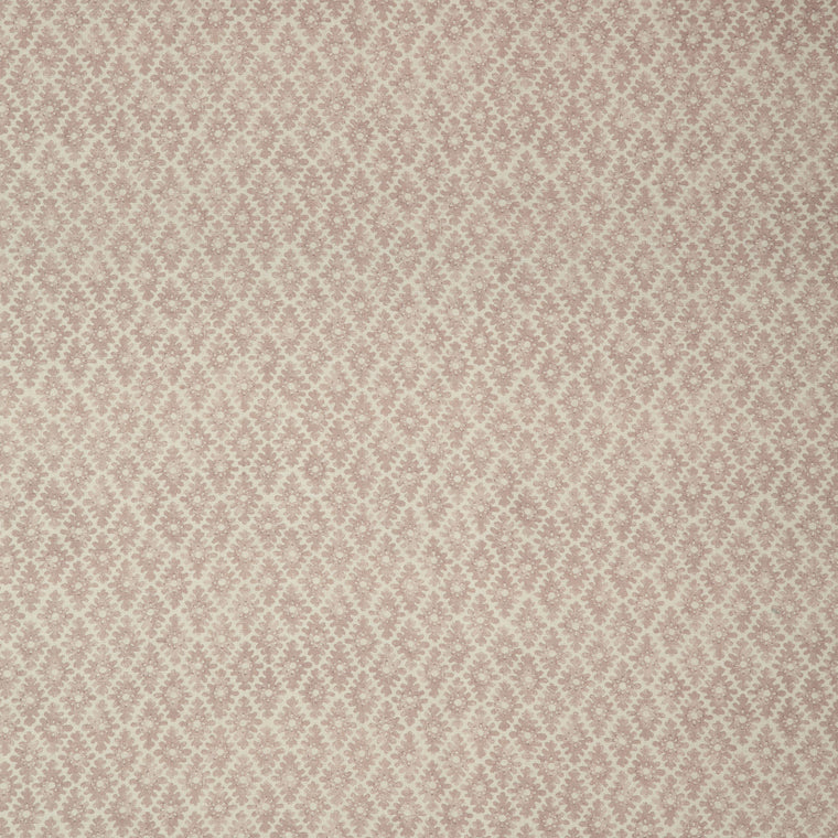 Fabric sample of a blush pink and neutral printed linen fabric for curtains and upholstery