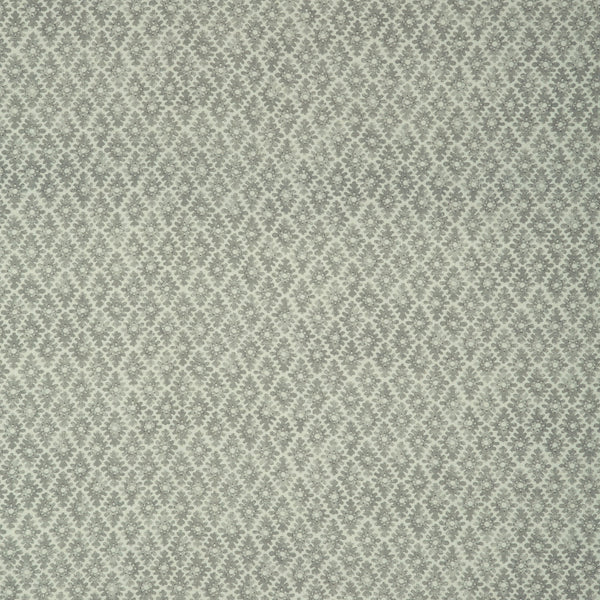 Fabric sample of a light blue and neutral printed linen fabric for curtains and upholstery