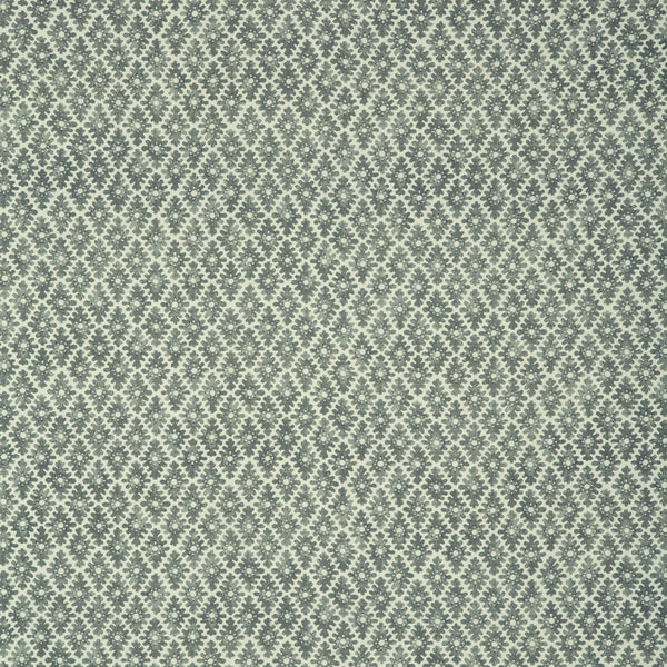 Fabric sample of a mid-blue and neutral printed linen fabric for curtains and upholstery
