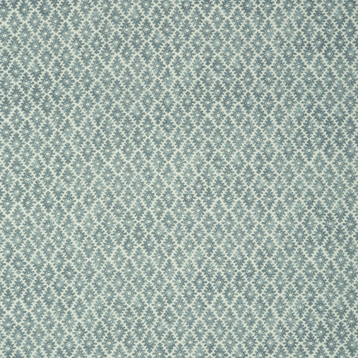 Fabric sample of a teal and neutral printed linen fabric for curtains and upholstery