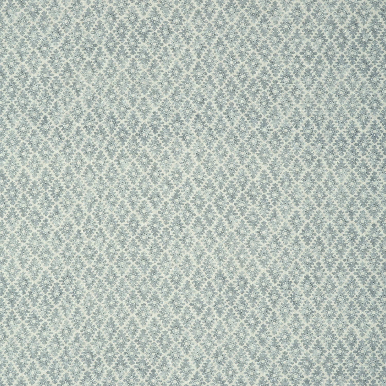 Fabric sample of a sky blue and neutral printed linen fabric for curtains and upholstery