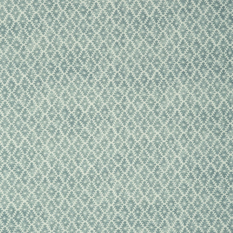 Fabric sample of a seagreen and neutral printed linen fabric for curtains and upholstery