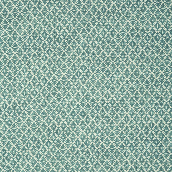 Fabric sample of a turquoise and neutral printed linen fabric for curtains and upholstery