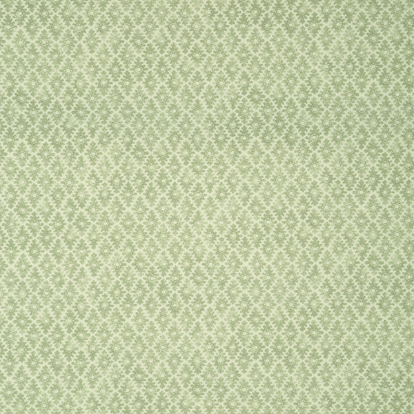 Fabric sample of a green and neutral printed linen fabric for curtains and upholstery