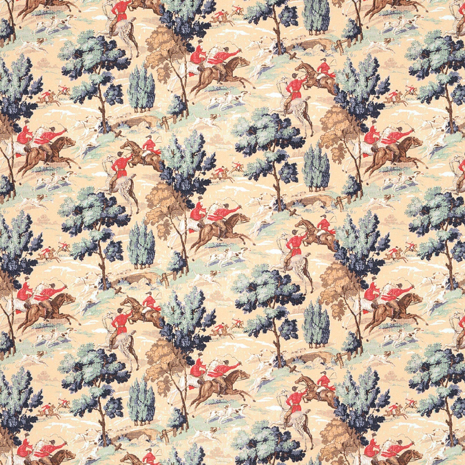 Cotton velvet suitable for upholstery and curtains with hunting scene design. Featuring huntsmen on horses and dogs in a forest scene.
