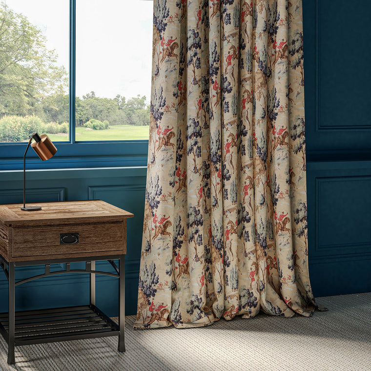 Luxurious cotton velvet curtains with a large scale hunting scene.