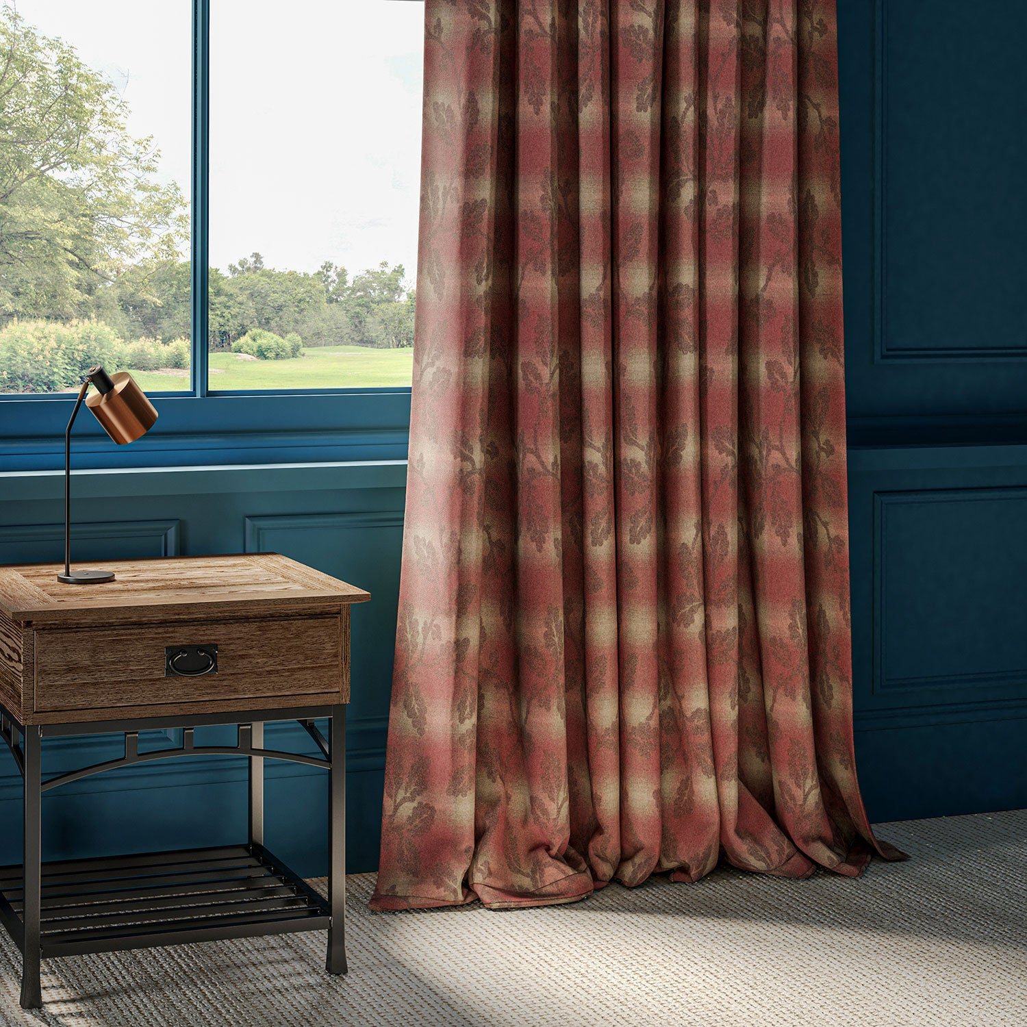 Curtains in a red wool with neutral check and brown Holly leaf design