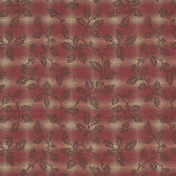 Wool fabric suitable for curtains and upholstery. Red background with neutral check and brown Holly leaf design