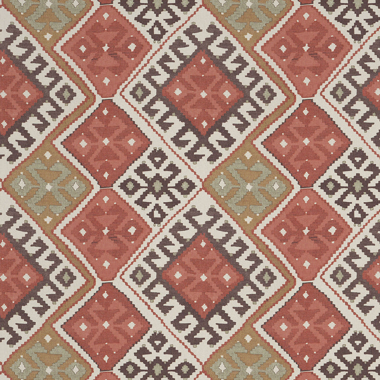 Linen fabric with large scale Kilim design suitable for both upholstery and curtains. Design name is Ardabil, colourway Bazaar.