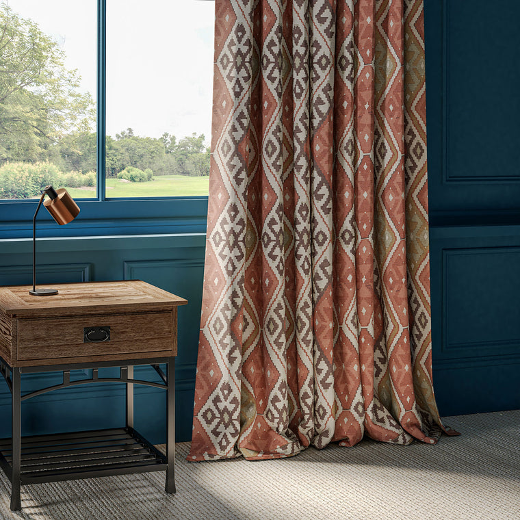 Curtains made with a linen fabric with large scale Kilim design in neutral, terracotta and aqua colour palette