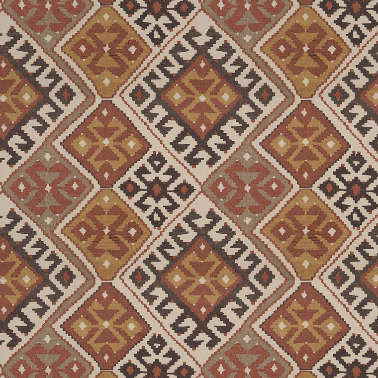 Linen fabric suitable for upholstery and curtains with large scale Kilim design with neutral, terracotta and brown colour palette