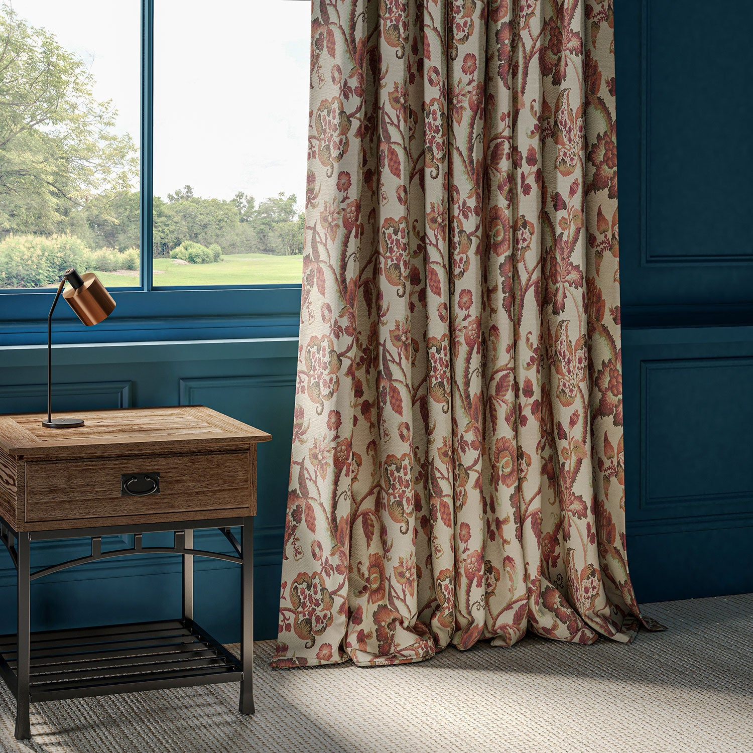 Curtains in Haryana fabric colourway Jaipur. Neutral fabric with red vine and floral design.