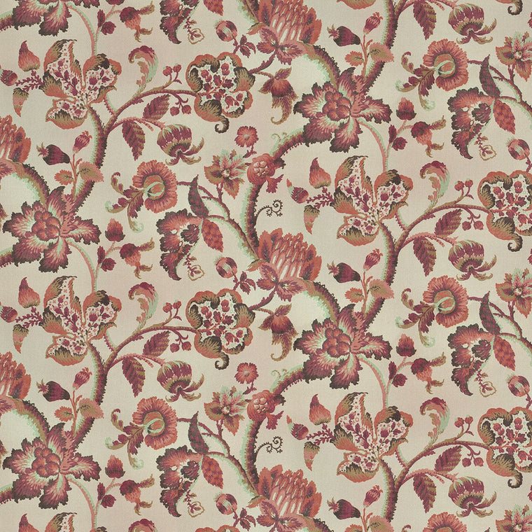 Fabric with neutral linen background and a large scale red and terracotta floral vine design