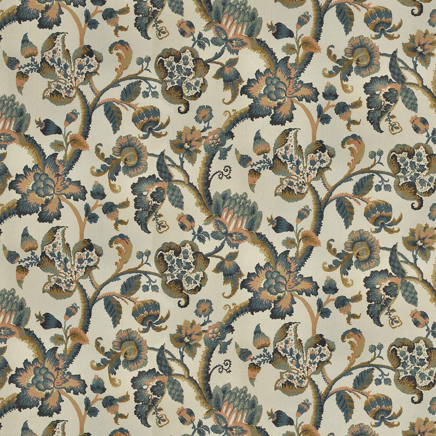 Haryana in colourway Assam, neutral upholstery fabric with blue vine and floral design