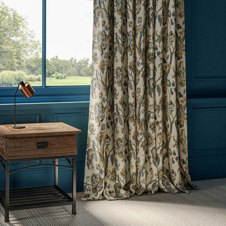 Neutral curtains with blue vine design from Sporting Life collection by Linwood