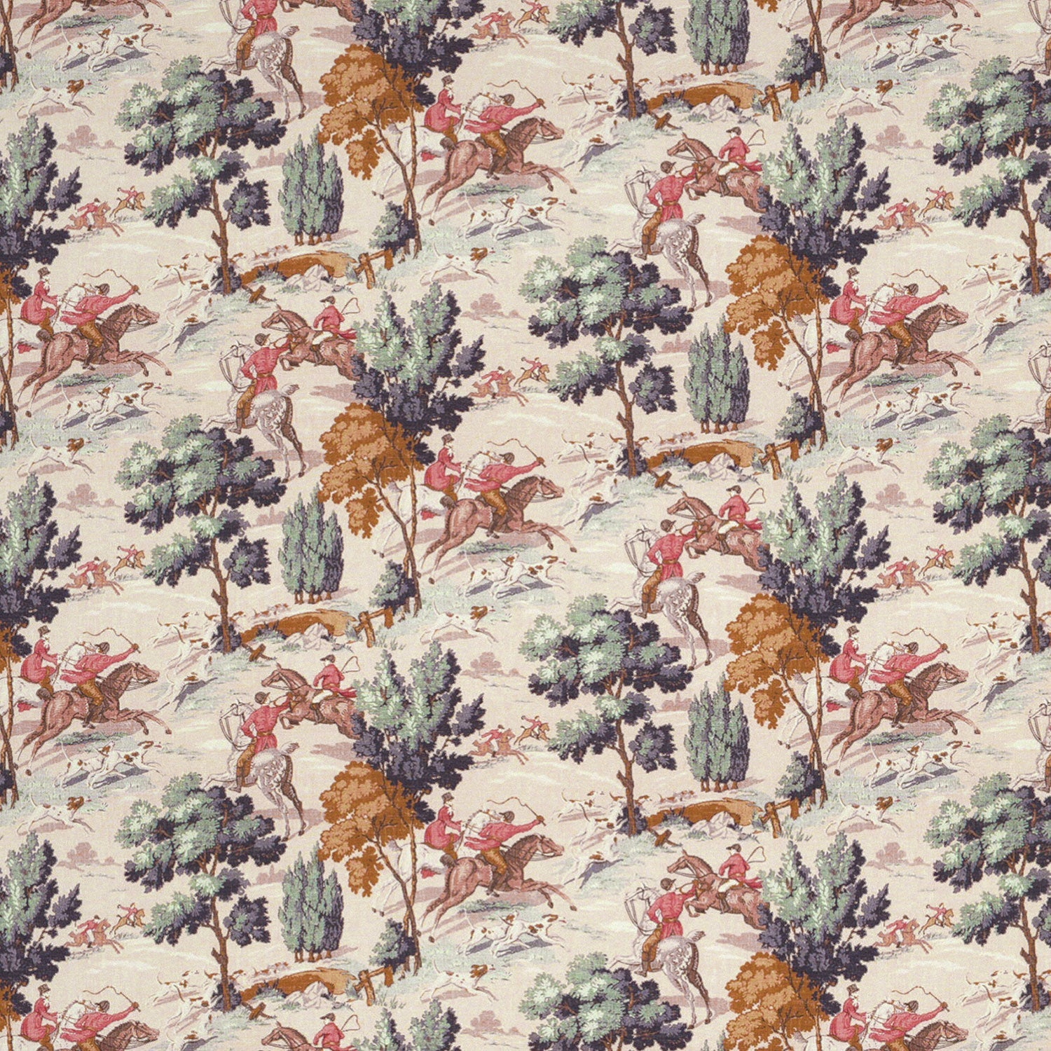 Hunting scene fabric suitable for curtains and upholstery
