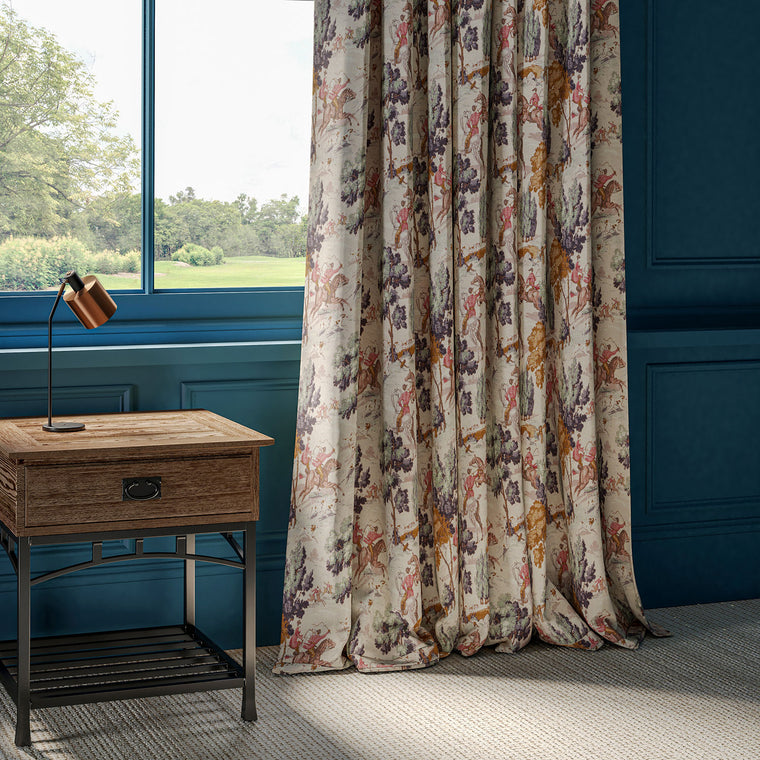 Linen curtains with hunting scene fabric
