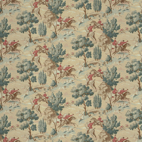 Hunting Scene upholstery fabric with huntsmen wearing red coats, horses and green trees with aqua undertones