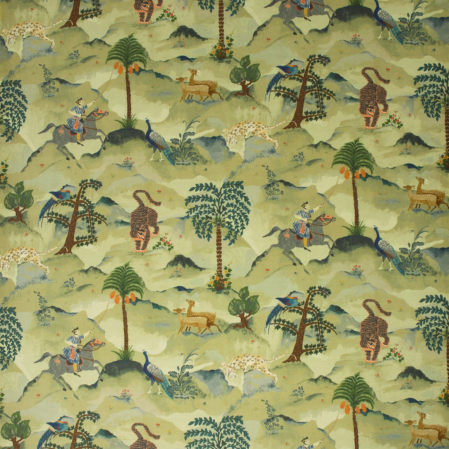 Fabric swatch of a green cotton velvet fabric for curtains and upholstery with painted animals and characters