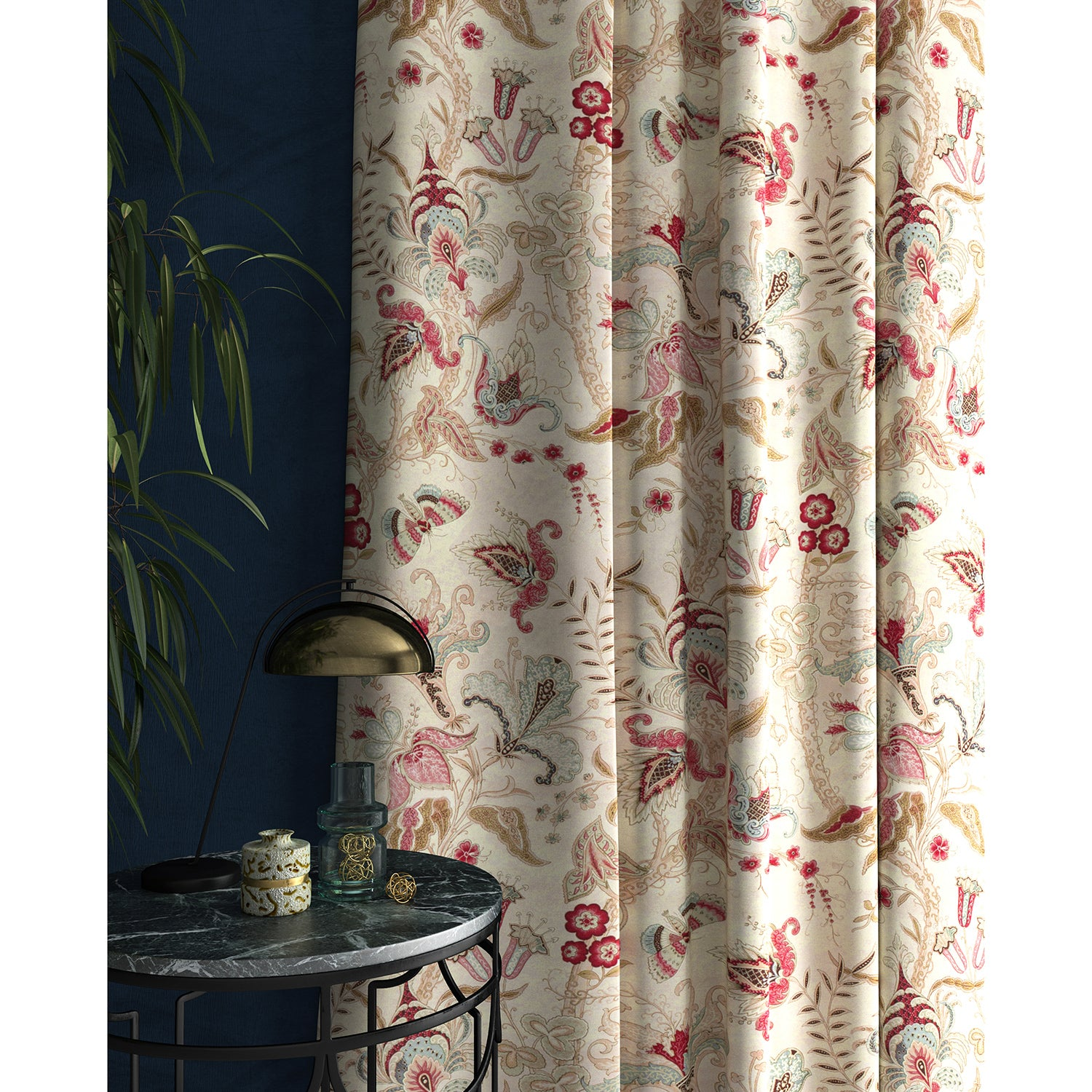 Curtain with a white fabric with pink and blue stylised floral design