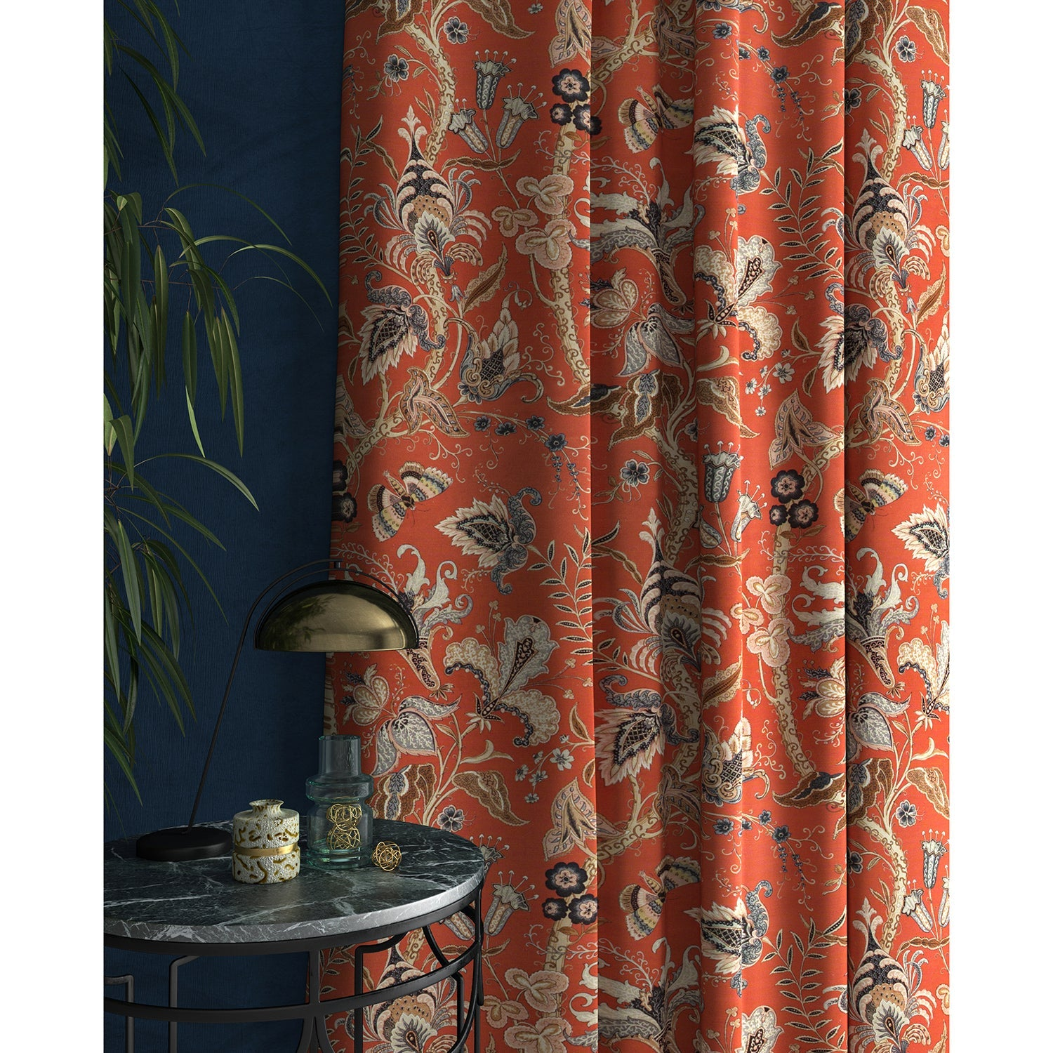 Curtains with a orange fabric with a stylised floral design