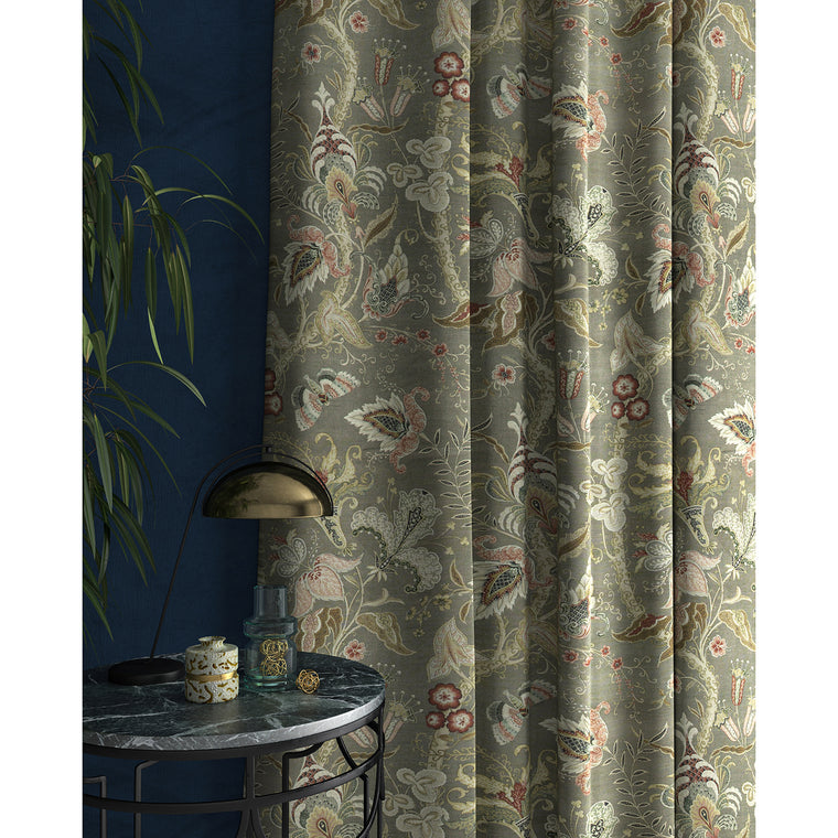 Curtain with a grey fabric with stylised floral design