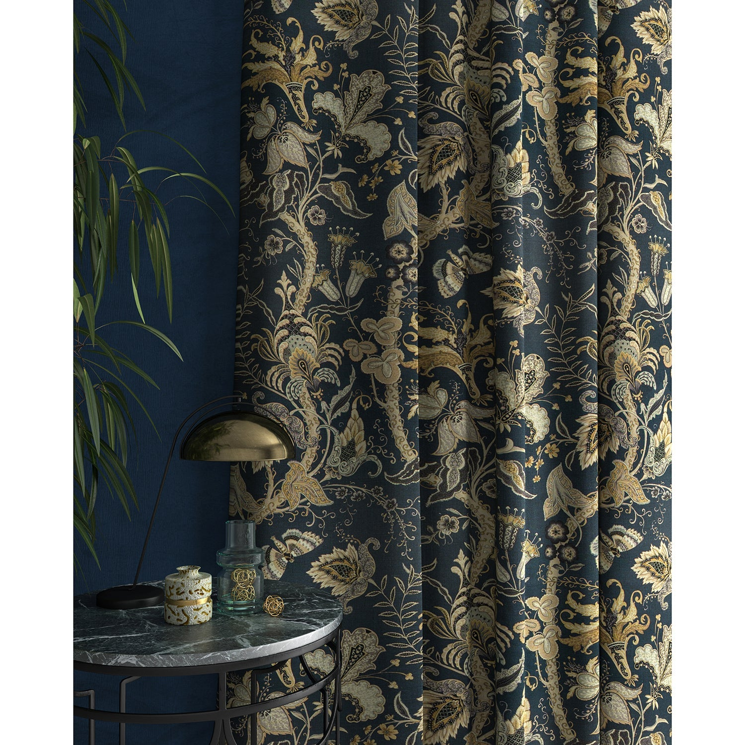 Curtains in a navy blue fabric with stylised floral design
