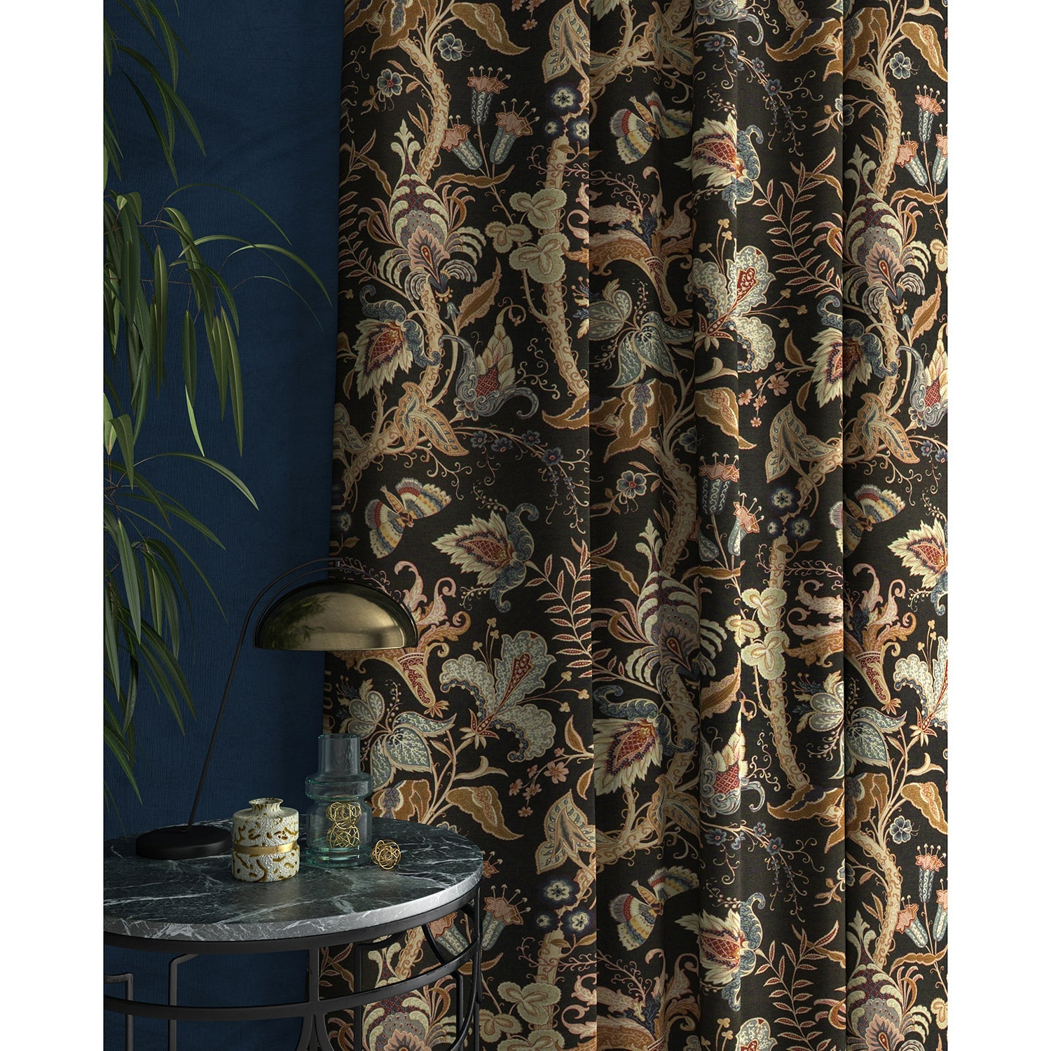 Curtain with a dark grey fabric with stylised floral design