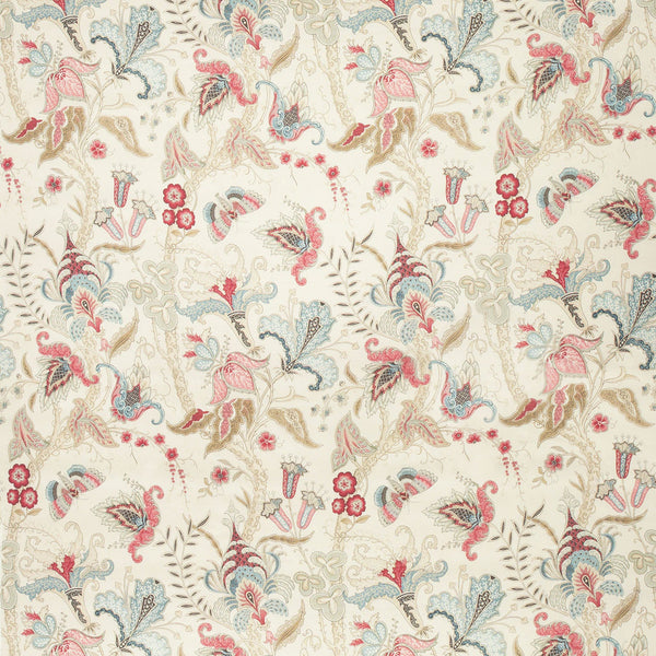 Fabric swatch of a white fabric with a pink and blue stylised floral design