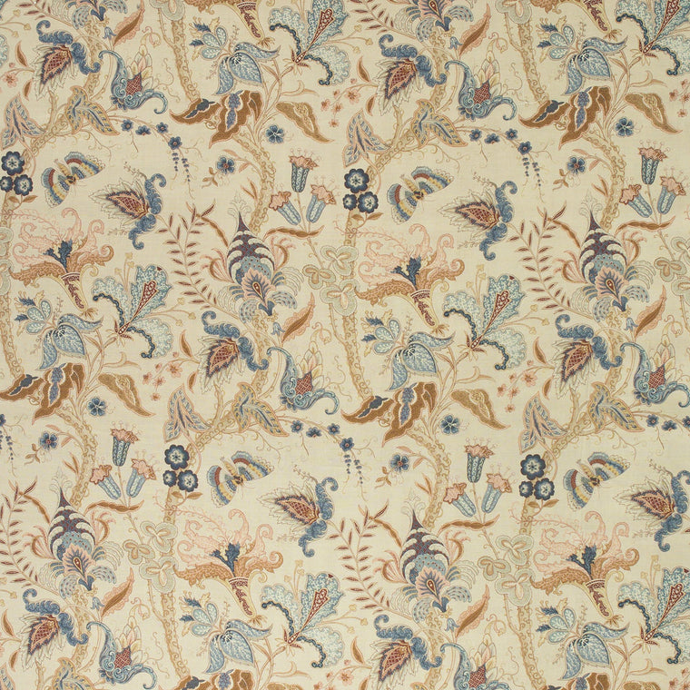 Fabric swatch of a cream fabric with a stylised floral design