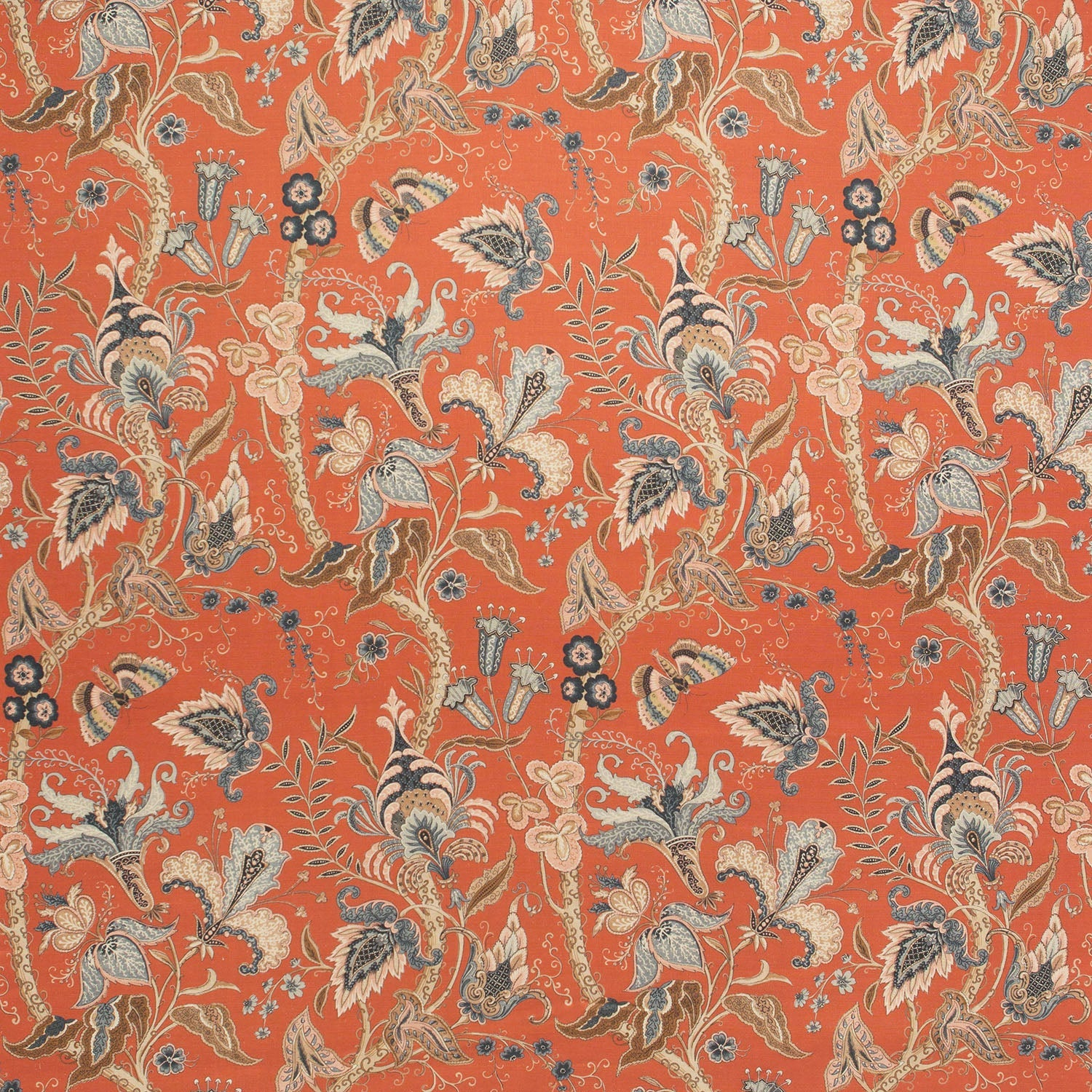 Fabric swatch of a orange fabric with a stylised floral design