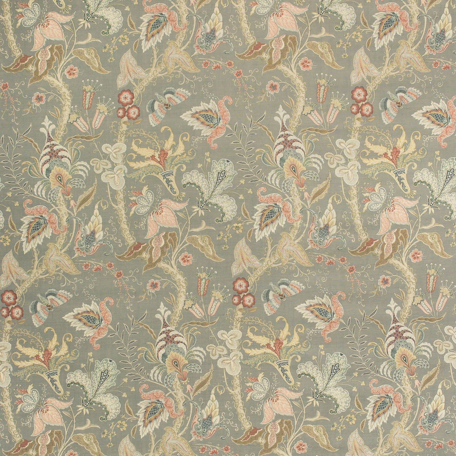 Fabric swatch of  grey fabric with stylised floral design