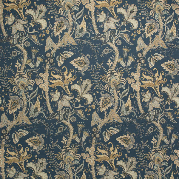 Fabric swatch of a blue fabric with stylised floral design