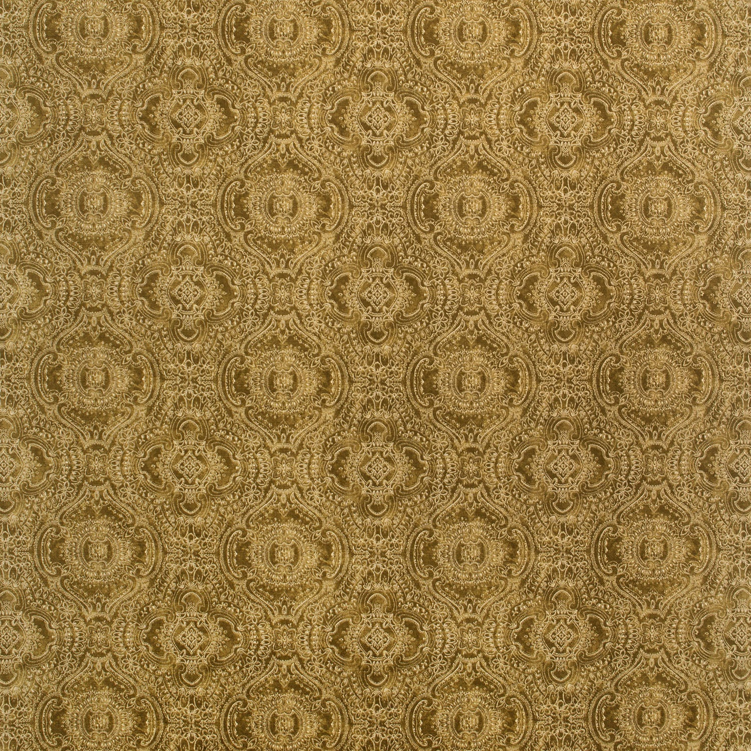 Fabric swatch of a gold velvet fabric for curtains and upholstery with intricate jewel like design