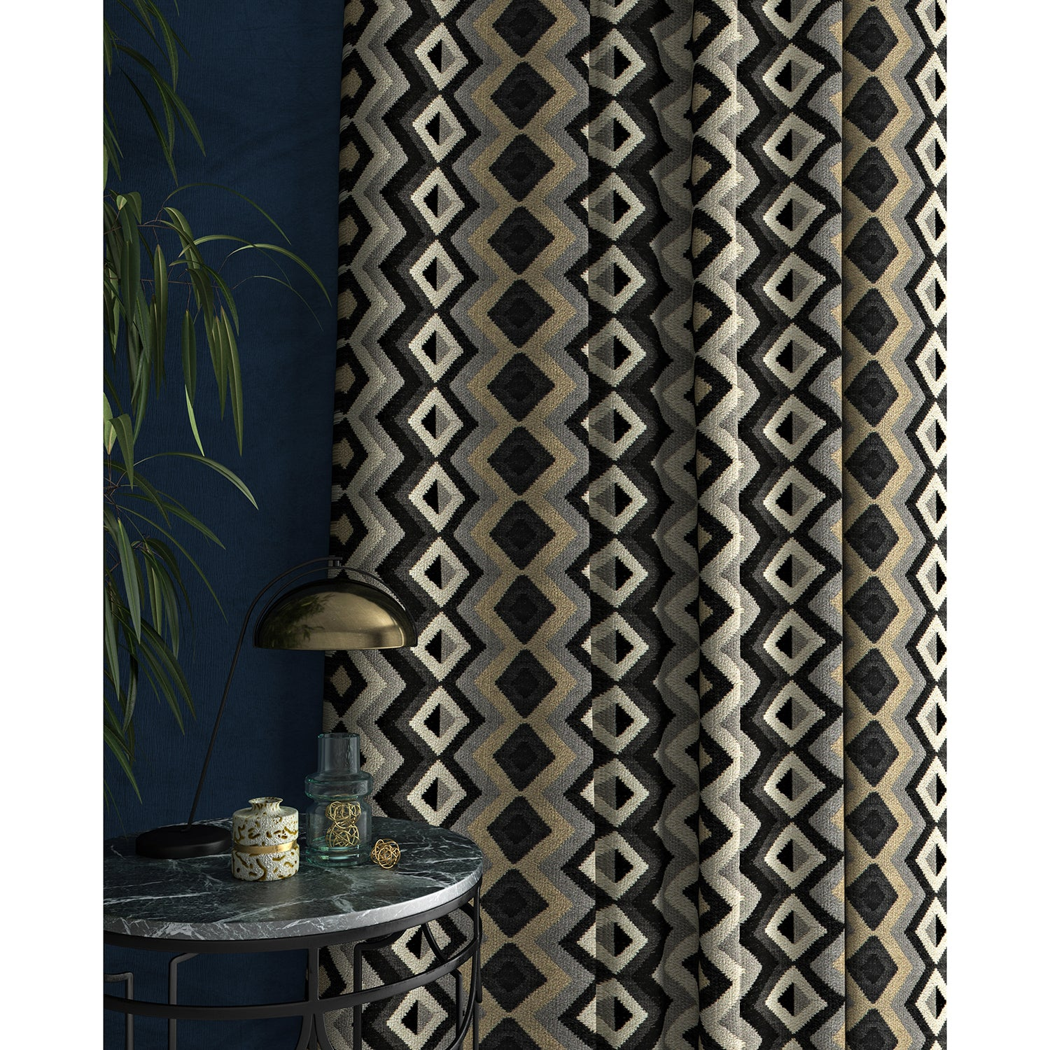Curtain in a black and white fabric with geometric Navajo inspired design