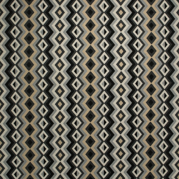 Fabric swatch of a black and white fabric for curtains and upholstery with geometric Navajo inspired design