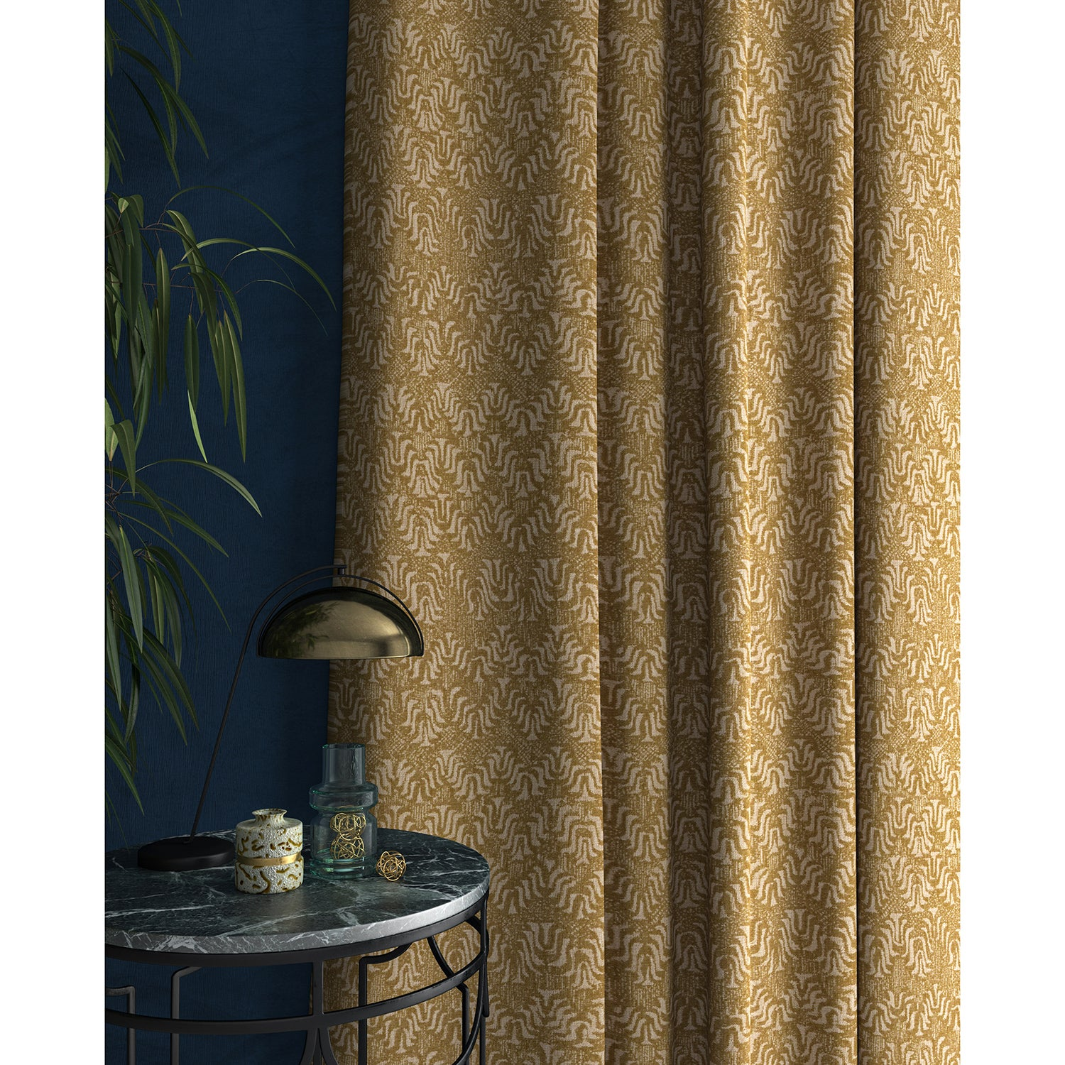 Curtain in a jacquard weave fabric in yellow and neutral colours