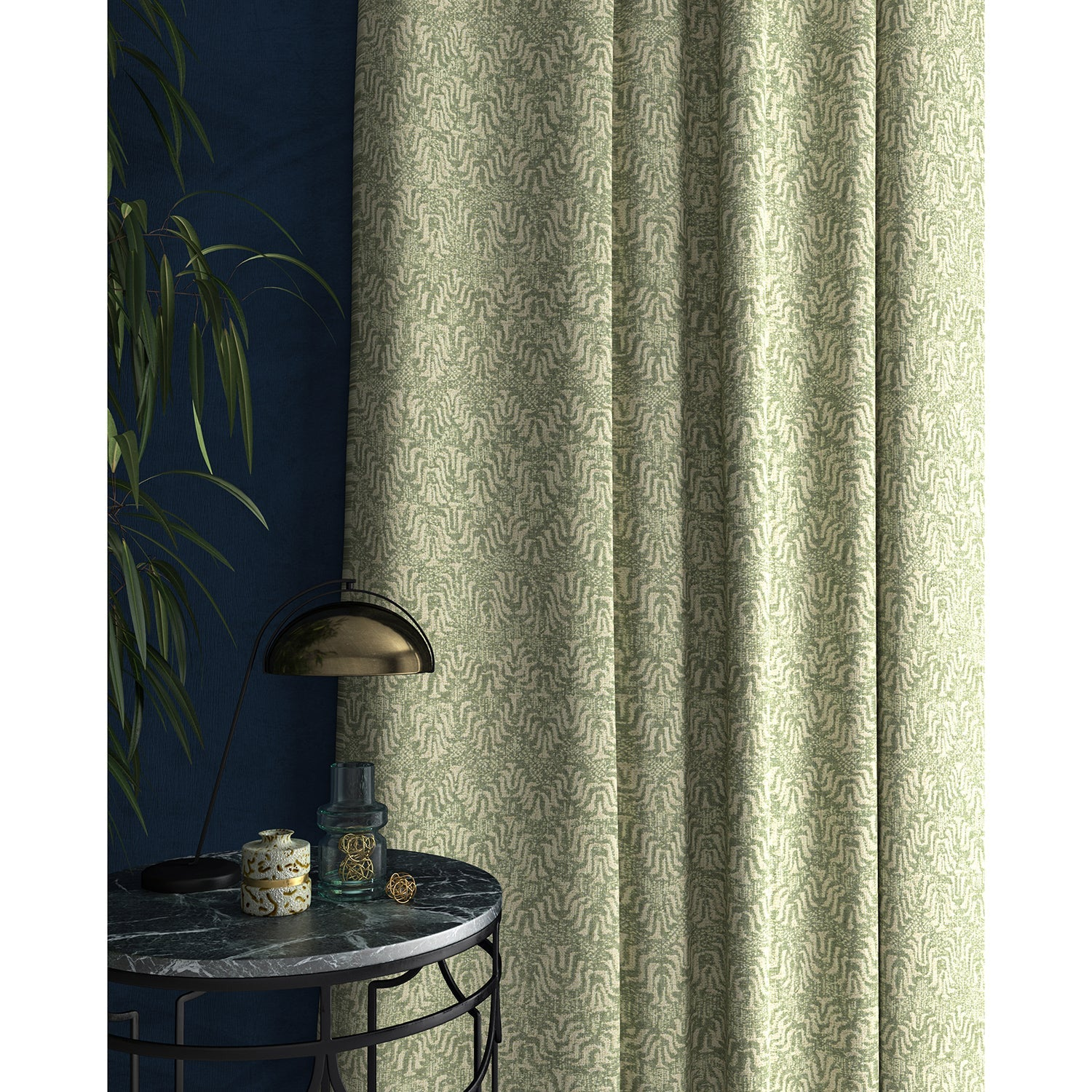 Curtain in a light turquoise and neutral jacquard weave fabric