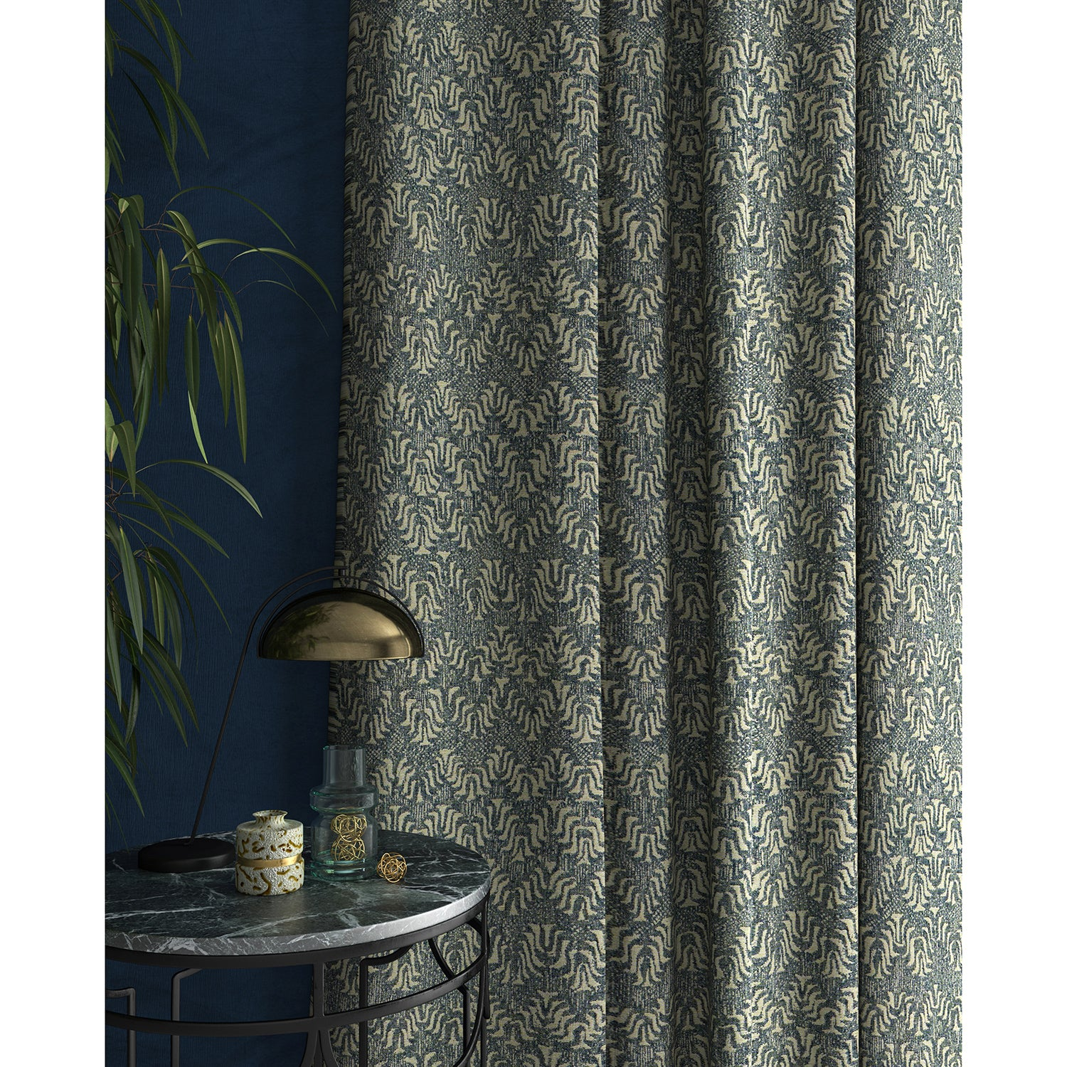 Curtain in a jacquard weave fabric in blue and neutral colours