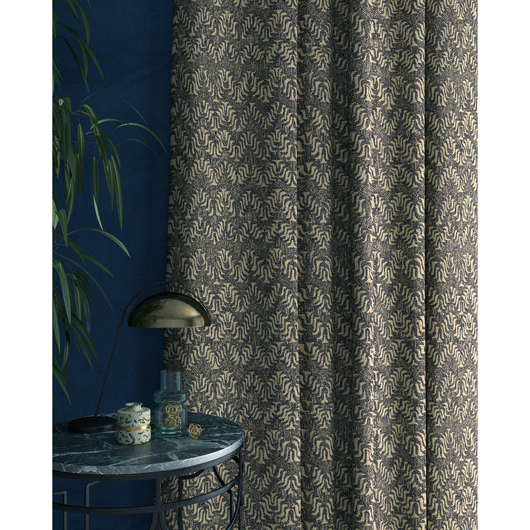 Curtain in a jacquard weave fabric in dark grey and neutral colours