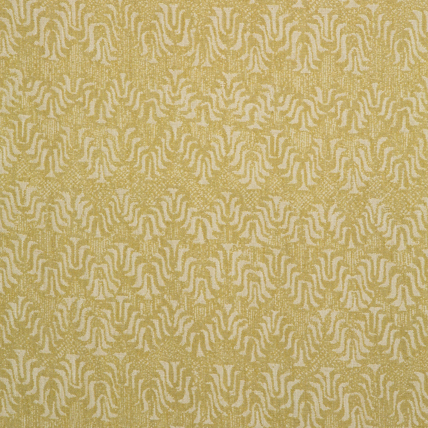 Fabric swatch of a yellow and neutral jacquard weave fabric for curtains and upholstery