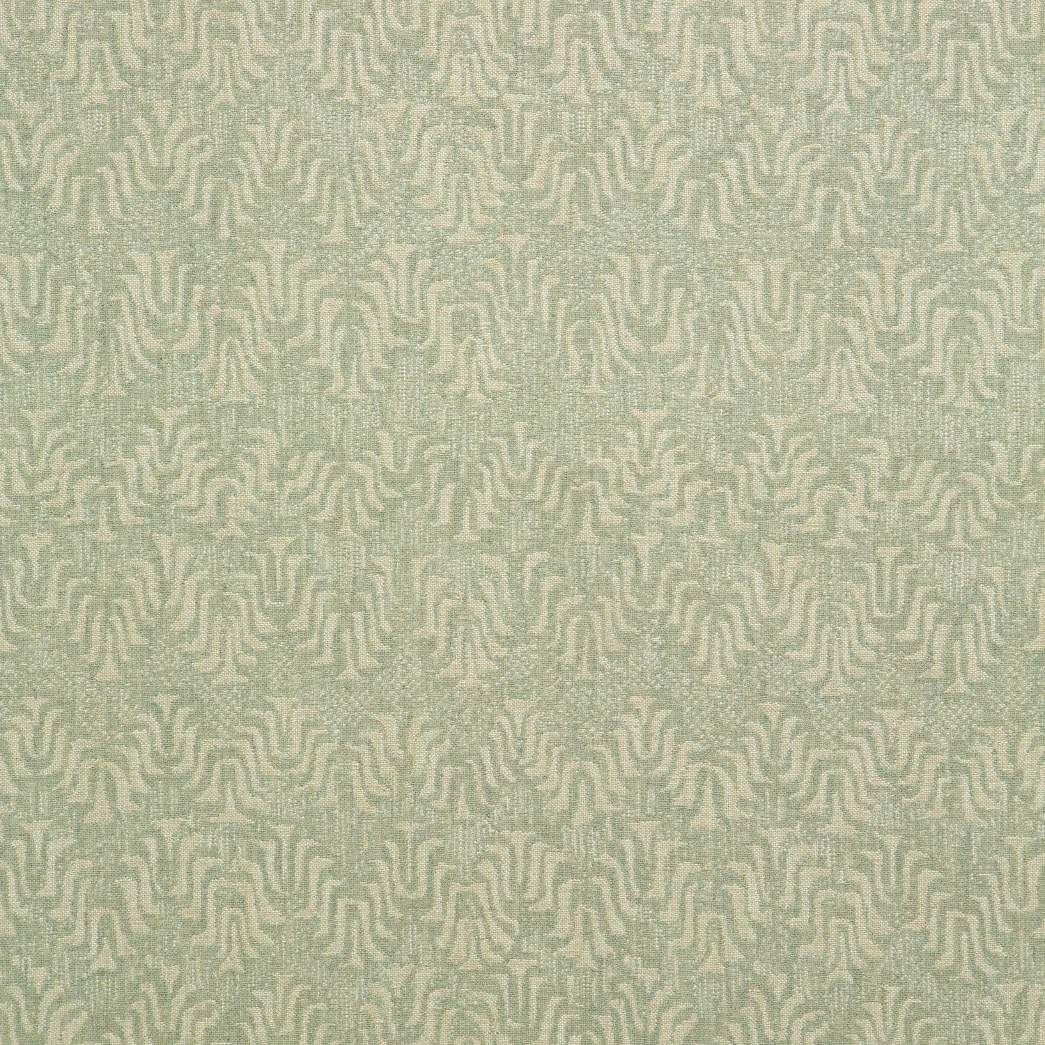 Fabric swatch of a light turquoise and neutral jacquard weave fabric for curtains and upholstery