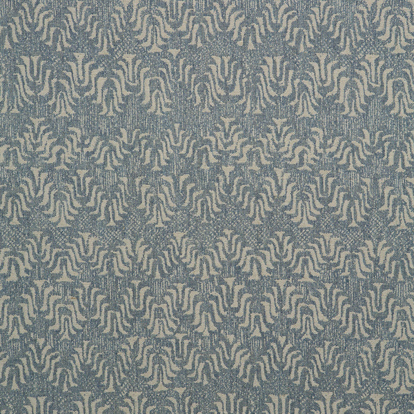 Fabric swatch of a blue and neutral jacquard weave fabric for curtains and upholstery