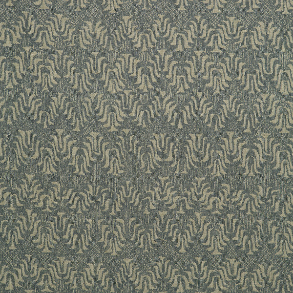 Fabric swatch of a dark blue and neutral jacquard weave fabric for curtains and upholstery