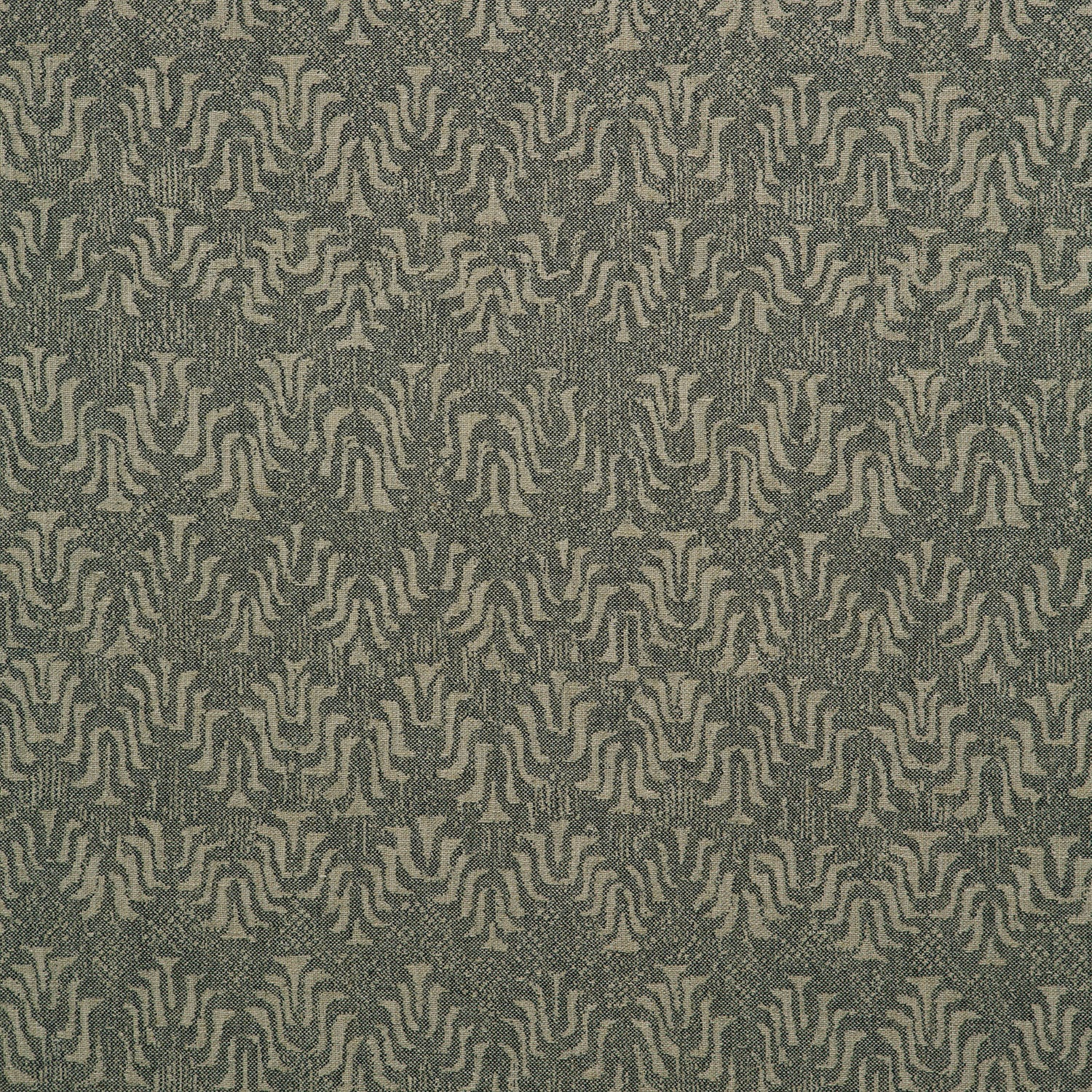 Fabric swatch of a dark grey and neutral jacquard weave fabric for curtains and upholstery